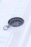 Kompas na sprawozdaniu finansowym Zdjęcia Stock
