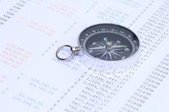 Kompas na sprawozdaniu finansowym Zdjęcie Royalty Free