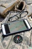 Kompas na torbie Zdjęcia Royalty Free