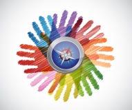 kompas nad różnorodność ręk okręgiem ilustracja wektor
