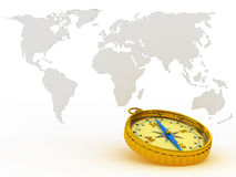 Kompas op achtergrondkaart Royalty-vrije Stock Foto's