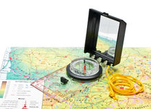 Kompas op de geïsoleerde kaart van Litouwen Stock Foto's