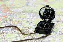 Kompas op de kaart Royalty-vrije Stock Afbeelding