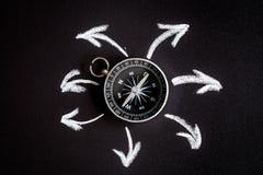 Kompas op donker concept als achtergrond - pijlen, richtings hoogste mening Stock Foto