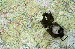 Kompas op kaart 1. Stock Afbeelding