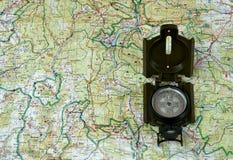 Kompas op kaart 2. Royalty-vrije Stock Fotografie