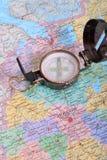 Kompas op kaart Royalty-vrije Stock Foto