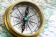 Kompas op kaart Royalty-vrije Stock Afbeelding