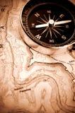 Kompas op kaart Stock Fotografie