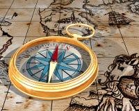 Kompas op kaart Stock Foto's