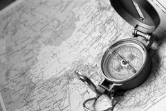 Kompas op Kaart Stock Foto