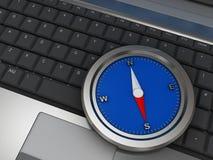 Kompas op laptop Stock Afbeeldingen