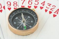 Kompas op speelkaart Royalty-vrije Stock Fotografie