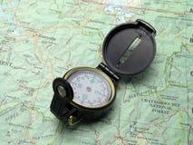 Kompas op topokaart 2 Royalty-vrije Stock Foto