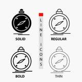 kompas, richting, navigatie, gps, plaatspictogram in Dunne, Regelmatige, Gewaagde Lijn en Glyph-Stijl Vector illustratie stock illustratie