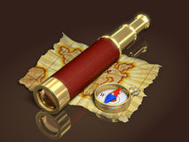 Kompas, spyglass i stara mapa, Fotografia Stock