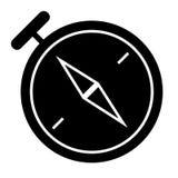 Kompas stevig pictogram Navigatie vectordieillustratie op wit wordt geïsoleerd Het ontwerp van de cartografie glyph stijl, voor W stock illustratie