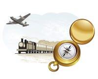 Kompas, trein en vliegtuig Royalty-vrije Stock Foto's