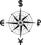 Kompas van munten Royalty-vrije Stock Foto