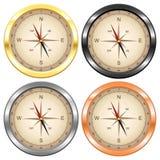 Kompas vier kleuren geplaatst gouden donker platina zilveren koper Royalty-vrije Stock Foto's