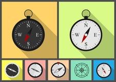 Kompas vlakke reeks Royalty-vrije Stock Fotografie