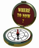 Kompas - waar te nu? Royalty-vrije Stock Foto