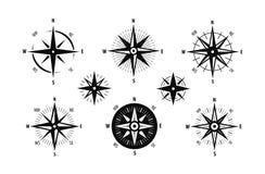 Kompas, wiatr ikony różany set Morskiej nawigacji symbol również zwrócić corel ilustracji wektora ilustracji