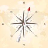 Kompas wzrastał na rocznika grungy tle Zdjęcie Royalty Free