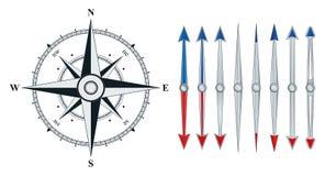Kompas z jednakowymi strzała odizolowywać ilustracji