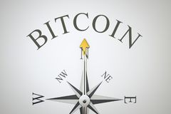 Kompas z słowa bitcoin Fotografia Royalty Free