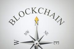 Kompas z słowa blockchain Obraz Royalty Free
