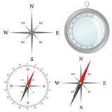 Kompas in zilveren kleur in deel vectorillustratie Stock Fotografie