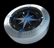 Kompasblauw op zwarte Stock Foto