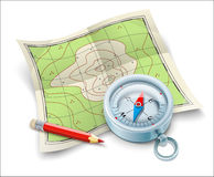 Kompaskaart en potlood voor toerismereis Royalty-vrije Stock Foto