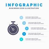 Kompass översikt, navigering, bakgrund för Pin Solid Icon Infographics 5 momentpresentation royaltyfri illustrationer
