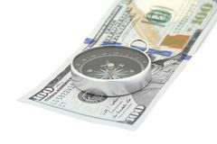Kompass auf Banknote Stockfoto