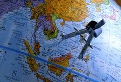 Kompass auf Kugel (südostasiatische Region) Stockfoto