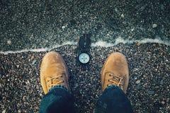 Kompass auf Ufer Stockbilder