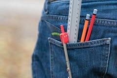 Kompass blyertspennor och mätainstrument Royaltyfria Bilder