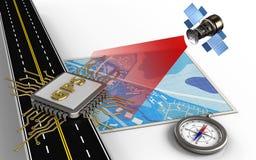 kompass 3d royaltyfri illustrationer