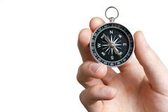 Kompass in der Hand Stockfotografie