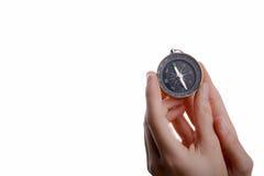Kompass in der Kinderhand Lizenzfreies Stockfoto