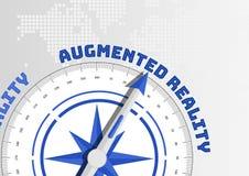 Kompass, der in Richtung zu Text vergrößerter Wirklichkeit zeigt Stockbild
