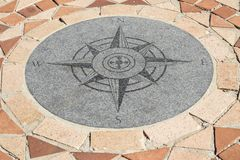 Kompass errichtet in den Ziegelstein, der Bereich pflastert Stockfoto