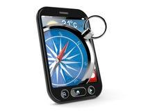 Kompass inom den smarta telefonen royaltyfri illustrationer