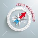 Kompass Jetzt Wechseln Stockfoto