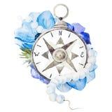 Kompass med blommor royaltyfri illustrationer