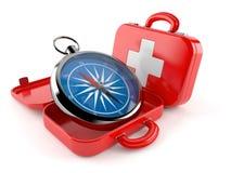 Kompass med första hjälpensatsen royaltyfri illustrationer