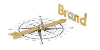 Kompass med guld- märke som isoleras på den vita illustraen för bakgrund 3D royaltyfri illustrationer