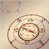 Kompass med kulöra pilar Vind steg på ljus bakgrund Vektorillustrationen i tappning utformar Royaltyfri Foto